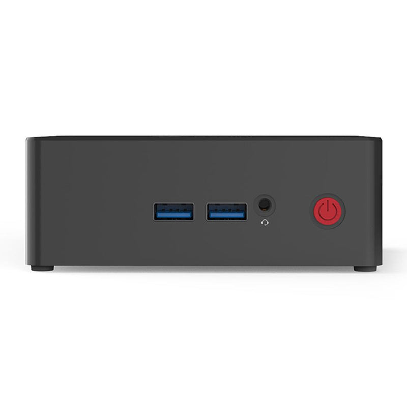 Beelink X55 Windows 10 Home Mini Computer showing front USB 3.0 Ports and 3.5mm Headphone&Microphone Jack