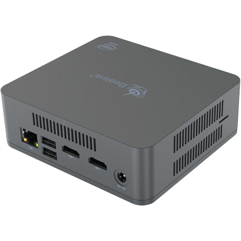 Beelink U55 Right Side View Showing RJ45 Ethernet Port, 2x USB Type A Ports, 2x HDMI Ports and Power Supply Port (4112670425142)
