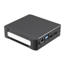 DroiX CK1 Mini PC Windows 10 NUC Up to Intel Core i7 Chipset, 512GB PCI-E NVMe SSD, 16GB DDR4 RAM - Showing left side with 1x Power Adapter Port ; RJ45 Ethernet Port ; 2x USB 3.0 Ports ; 1x HDMI Port ; 1x DVI Port and 1x USB Type-C on the back
