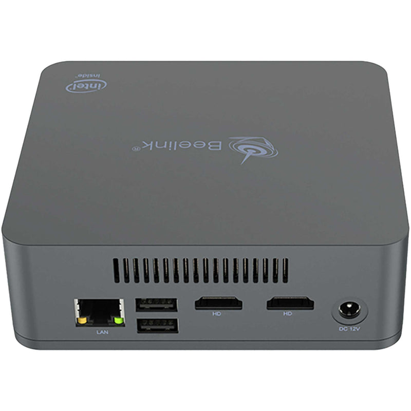 Beelink U55 Back View Showing RJ45 Ethernet Port, 2x USB Type A Ports, 2x HDMI Ports and Power Supply Port (4112670425142)