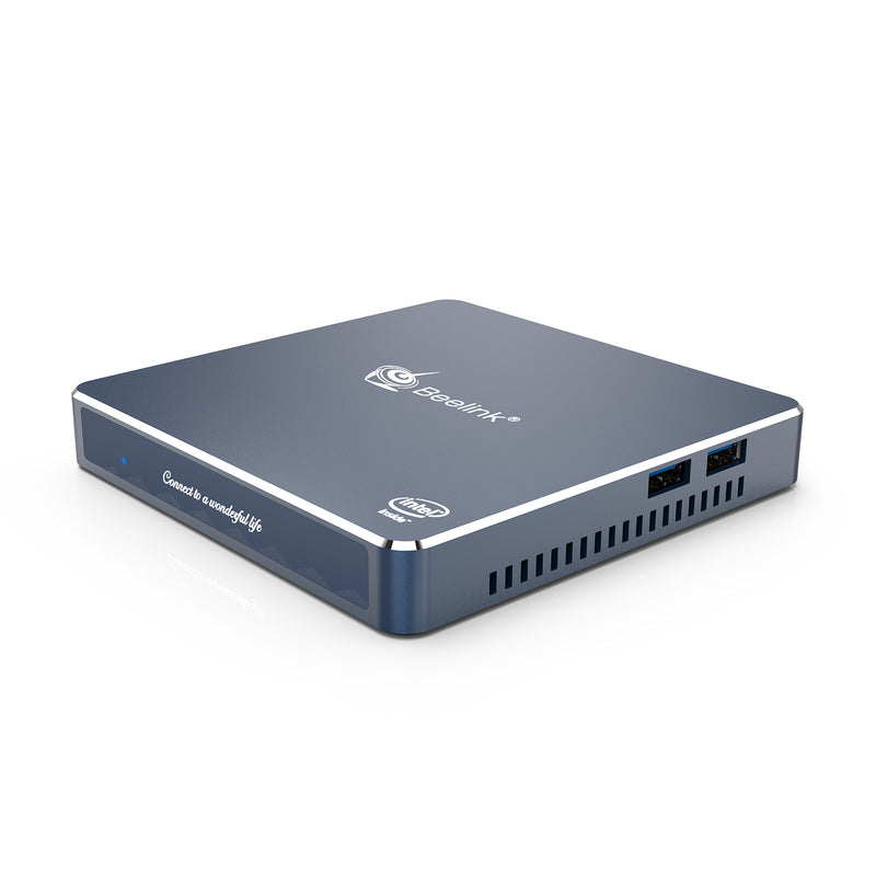 Beelink Gemini M Intel Mini PC Computer - Shown from angle with front plate and 2x USB Ports