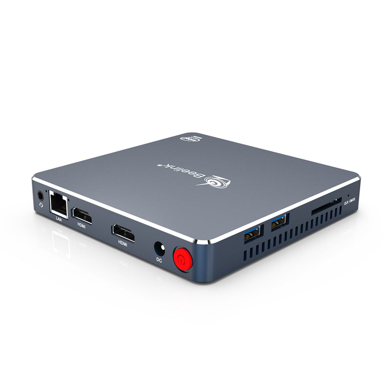 Beelink Gemini M Intel Mini PC Computer - Shown from corner with 2x USB Ports, Audio Jack, RJ45 Ethernet Port, dual HDMI, power plug and button from the back and 2x USB Ports and SD Card slot