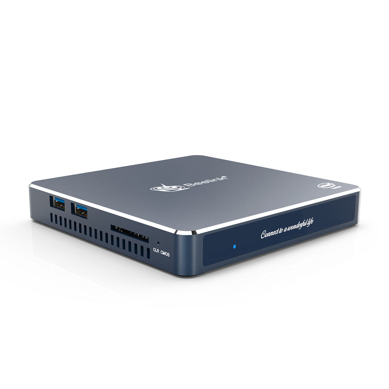 Beelink Gemini M Intel Mini PC Computer - Shown from corner with 2x USB Ports and SD Card Slot