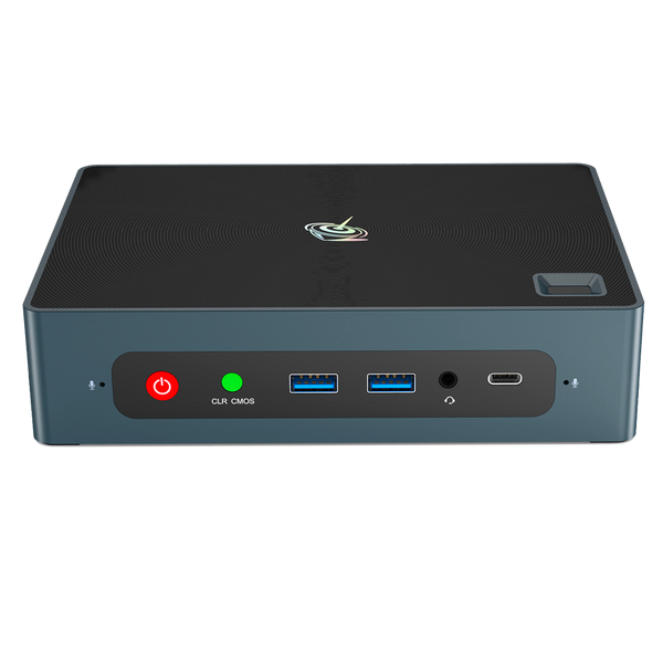 Beelink GTi 10 Windows Intel NUC Mini PC - Showing from the front with Power Button, CMOS Reset Button, 2x USB Type-A 3, 3.5mm Headphone&Microphone Jack and USB Type-C
