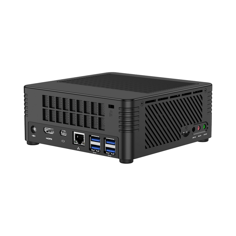 MINISFORUM H31 Mini PC - Shown from back-side with 4x USB 3.1 Ports, 1x RJ45 Ethernet Port, 1x Mini DP Port and 1x HDMI Port