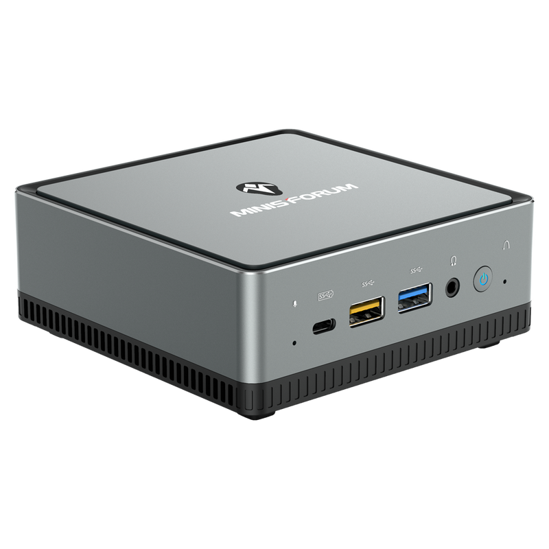 MinisForum UM250 AMD Mini PC - Showing front Microphone, USB-Type C Port, 2x USB Type-A Ports and 3.5mm Headphone Jack along with Power Button