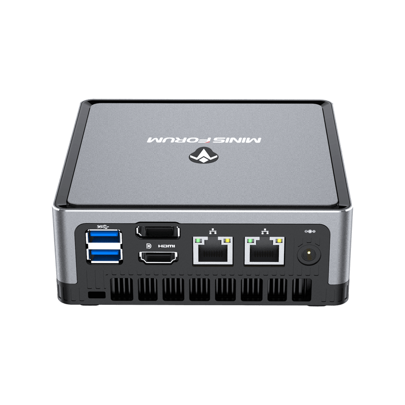 MinisForum EliteMini UM700 - Showing from the back at angle with I/O which is 2x USB Type-A 3.0, 1x HDMI, 1x DisplayPort, 2x RJ45 Ethernet Ports and Power Port