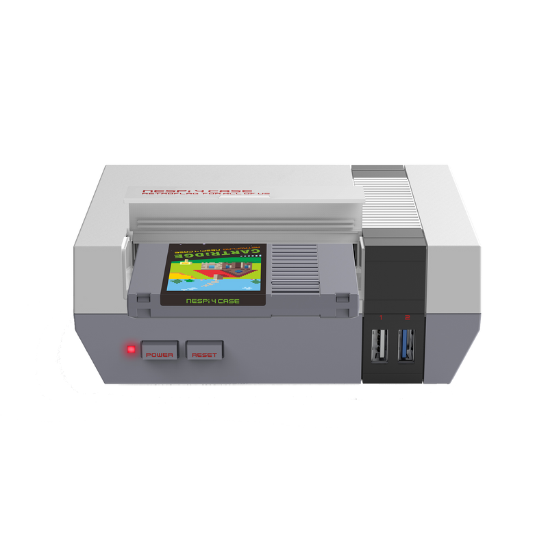 RETROFLAG NESPi 4 Case - Showing Open Cartridge slot with Power,Reset buttons and USB 2.0 and 3.0 Ports