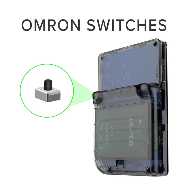 RG300 OpenDingux Retro Gaming Portable Handheld - Transparent Showcasing OMRON Switches (4115258015798)