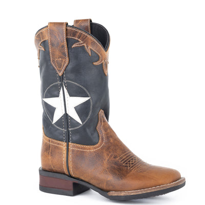 Roper - Kids Monterey Star Tan/Navy Leather Boots at Buffalo Bills Western