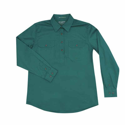 Just Country - Jahna Half Button Work Shirt - Forest Green at Buffalo Bills Western
