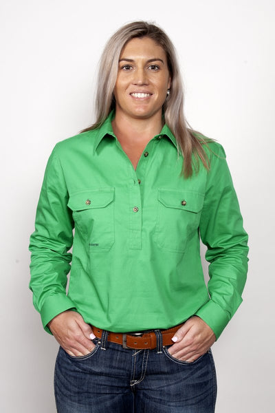 Just Country - Jahna Half Button Work Shirt - Ivy Green at Buffalo Bills Western
