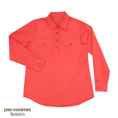 Just Country - Jahna 1/2 Button Work Shirt - Hot Coral at Buffalo Bills Western