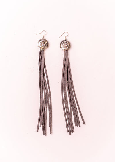 Leather in Grey with Silver Concho Earrings at Buffalo Bills Western