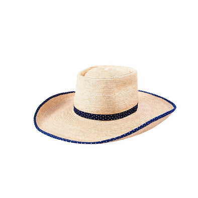 Sunbody - Ava Oak Palm Navy Polka Dot Brim Trim Hat