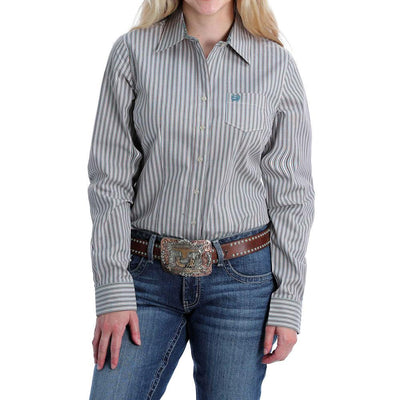 Cinch - Womens Turquoise Stripe Arena Shirt at Buffalo Bills Western