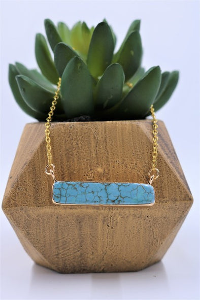 Western Jewellery - Turquoise Bar Gold Necklace at Buffalo Bills Western