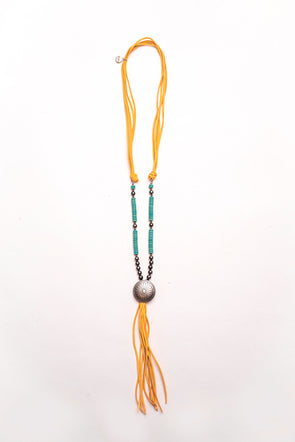 Western Jewellery - Mustard Tassel Concho Necklace at Buffalo Bills Western
