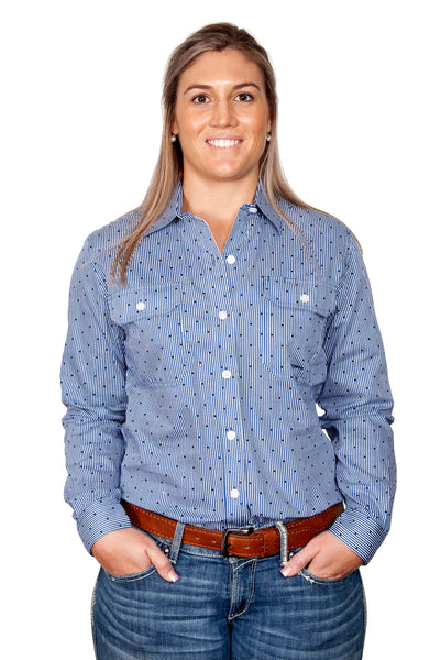 Just Country - Womens Abby Blue Stripe Work Shirt at Buffalo Bills Western