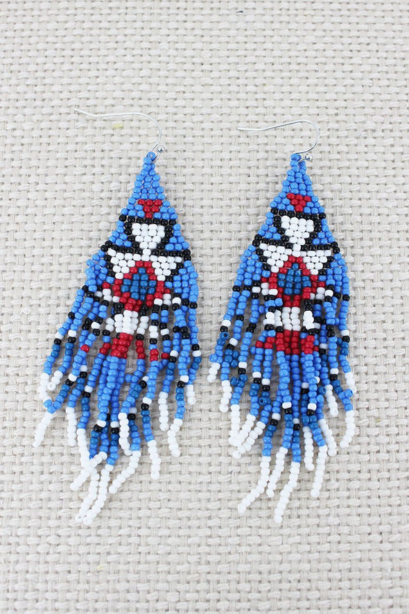 Western Jewellery - Blue Beaded Fringe Earrings - 1002 at Buffalo Bills Western
