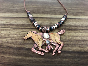 Western Jewellery - Running Horse Necklace Set - 1060