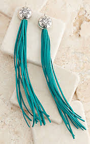 Western Jewellery - Aqua Tassel Concho Earrings at Buffalo Bills Western