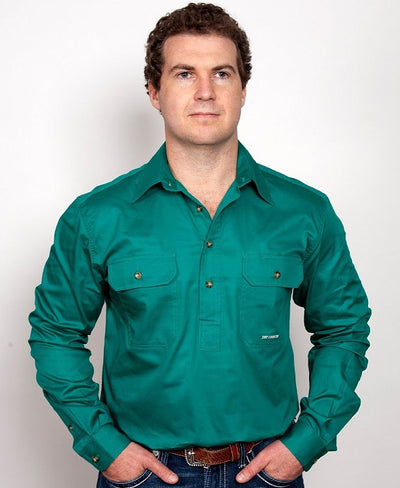Just Country - Cameron Half Button Work Shirt - Forest Green at Buffalo Bills Western