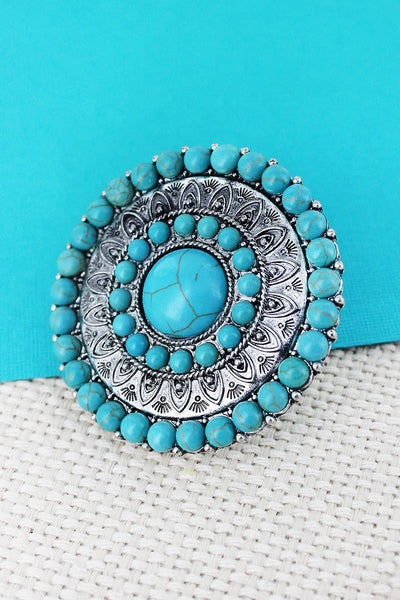 Western Jewellery - Turquoise Beaded Medallion Ring - 3043 at Buffalo Bills Western