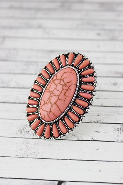 Western Jewellery - Pin Oval Flower Concho Ring - 3034 at Buffalo Bills Western