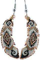 Copper Jewellery - South West Feather Aztec Earrings
