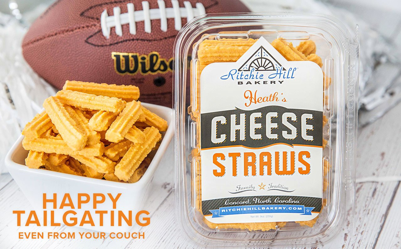 football tailgating with heaths cheese straws