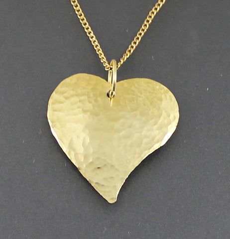 14K Hammered Heart Pendant