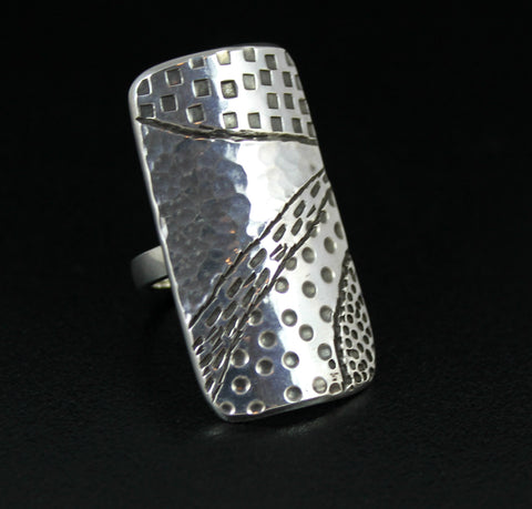 Long Sterling Shield Ring