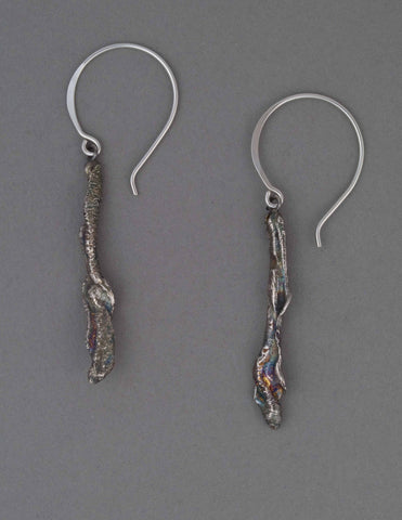 silver reticulated drop earrings