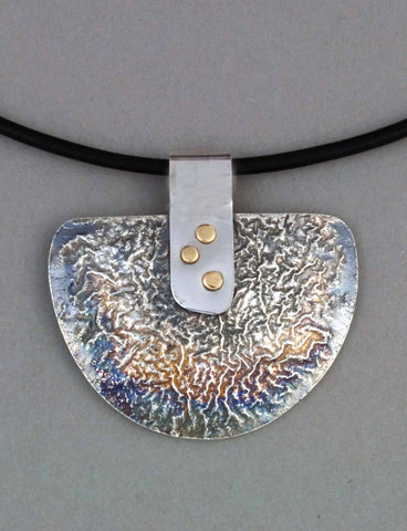 silver reticulated half shield half moon riveted pendant necklace