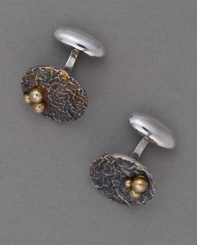 silver reticulated cuff links with gold