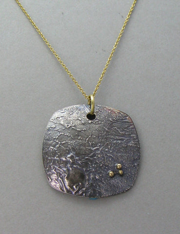 silver oxidized shield pendant necklace
