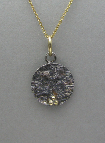 silver oxidized pendant necklace with gold