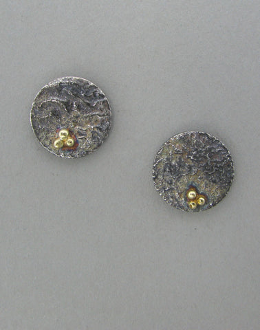 silver small disc stud earrings reticulated oxidized with gold