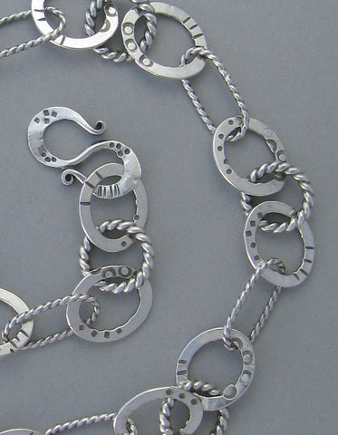 silver heavy link chain necklace stamped oxidized