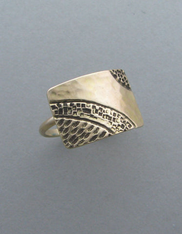 gold ring cocktail ring stamped shield