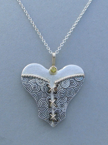 sterling silver bustier heart pendant necklace with gemstone citrine