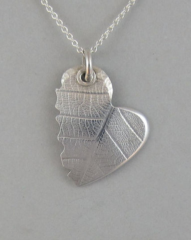 sterling silver heart pendant necklace organic leaf