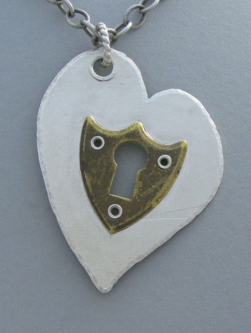 sterling silver keyhole heart pendant necklace vintage
