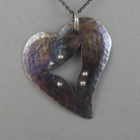 Sterling Open Wound Heart Pendant