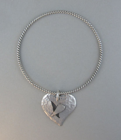 sterling silver heart charm bracelet bangle