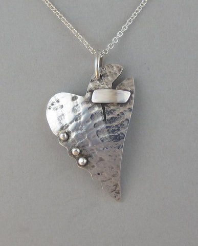 sterling silver heart pendant necklace patched heart broken heart