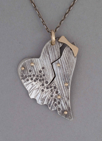 sterling silver heart pendant necklace broken heart gold riveted and stamped