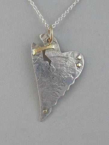 sterling silver heart pendant necklace with gold