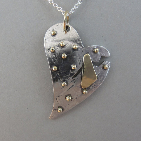 Sterling Patched Broken Heart Pendant